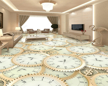 beibehang Customized fashion personality decorative painting silky PVC self-adhesive clock floor wall papers home decor