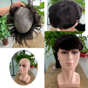 """Image 3 - Doreen European Remy Human Hair Toupee For Men With Transparent Thin skin PU 7"""" x 9"""" Straight Hair Pieces For Men Wig"""