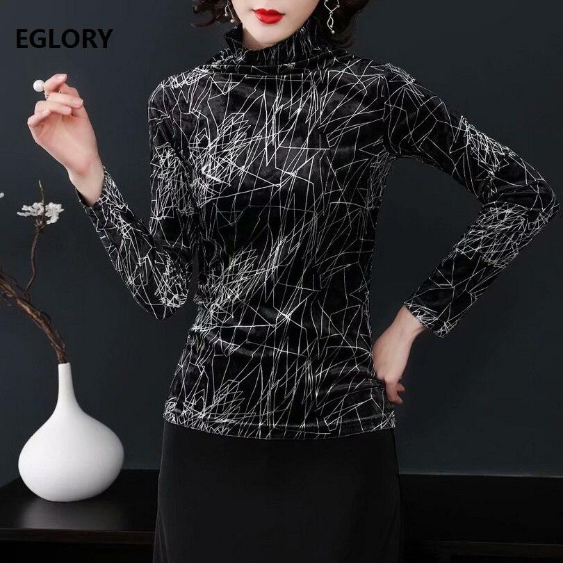 Tops de cuello alto 2019 Otoño Invierno Camiseta de manga larga de alta calidad para mujer estampado abstracto Casual Vintage negro Tops y camisetas