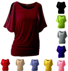 T-Shirt Top Bat-Sleeve Round-Neck Women Casual Cotton Short Solid Loose Sexy Hot New