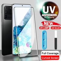 Uv Gehard Glas Voor Samsung Galaxy S10 S9 S8 S20 S21 Plus Ultra Full Liquid Screen Protector Note 8 9 10 Plus 20 Ultra Geen Film