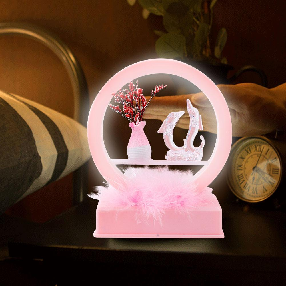 Dolphin LED Night Light Music Box Synthetic Resin Table Light Desk Ornament Room Decoration Valentine's Day Birthday Gift