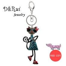 Cute Cat Keychain & Pendant Women Key Ring Holder Key Chains For Handbag and Car Handmade Animal Rings Keychains Girl Gift 2019 цена и фото