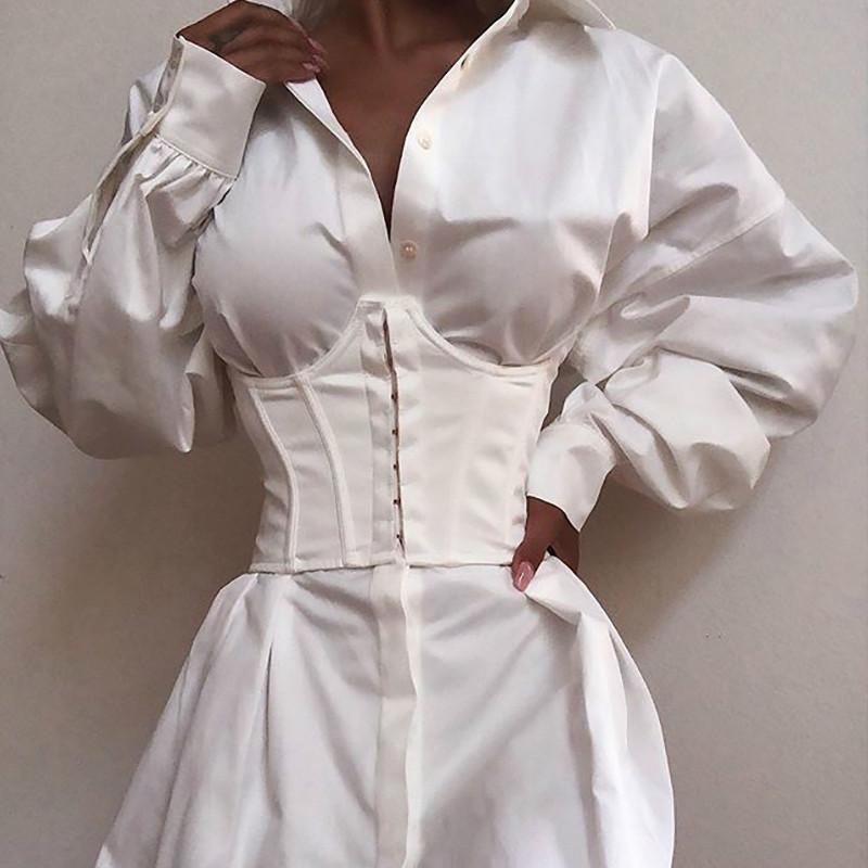 2021 Women's Corset Waist Belt Solid Color Black White Sexy Wide Elastic Tie Bodycon Waspie Belt