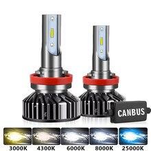 2 шт., автомобильные светодиодсветодиодный лампы H4 H7 Canbus H1 H3 H8 H9 H11 9005 HB3 9006 HB4 3000K 6000K 8000k 4500k