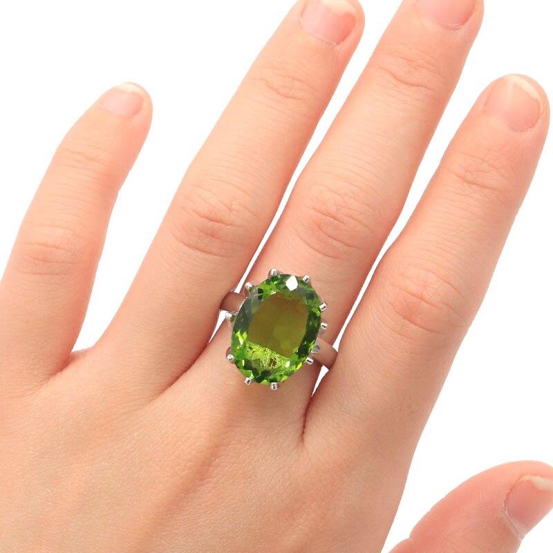 18x13mm 7.0# Big Oval Gemstone 18x13mm Green Peridot Woman's Party Silver Ring