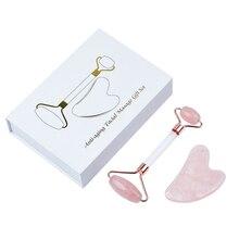 JEAXI Rose Quartz Slimming Face Massage Tool Jade Facial Massage Roller Acrylic Guasha Massage Stone