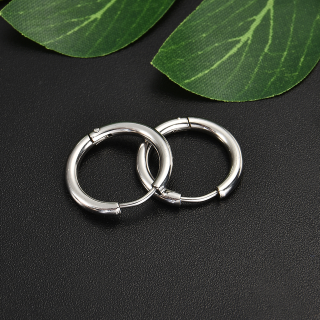 Gothic Stainless Steel Simple Round Stud Earrings 3