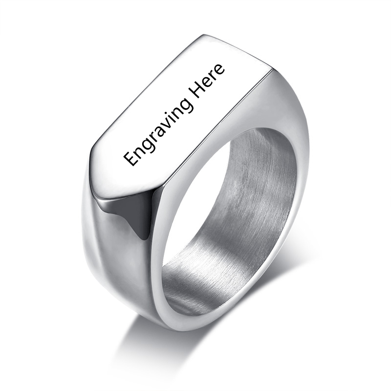 Stainless Steel Personalized Rings For Men Customized Engraved Name Signet Rings Punk Style Jewelry Gift