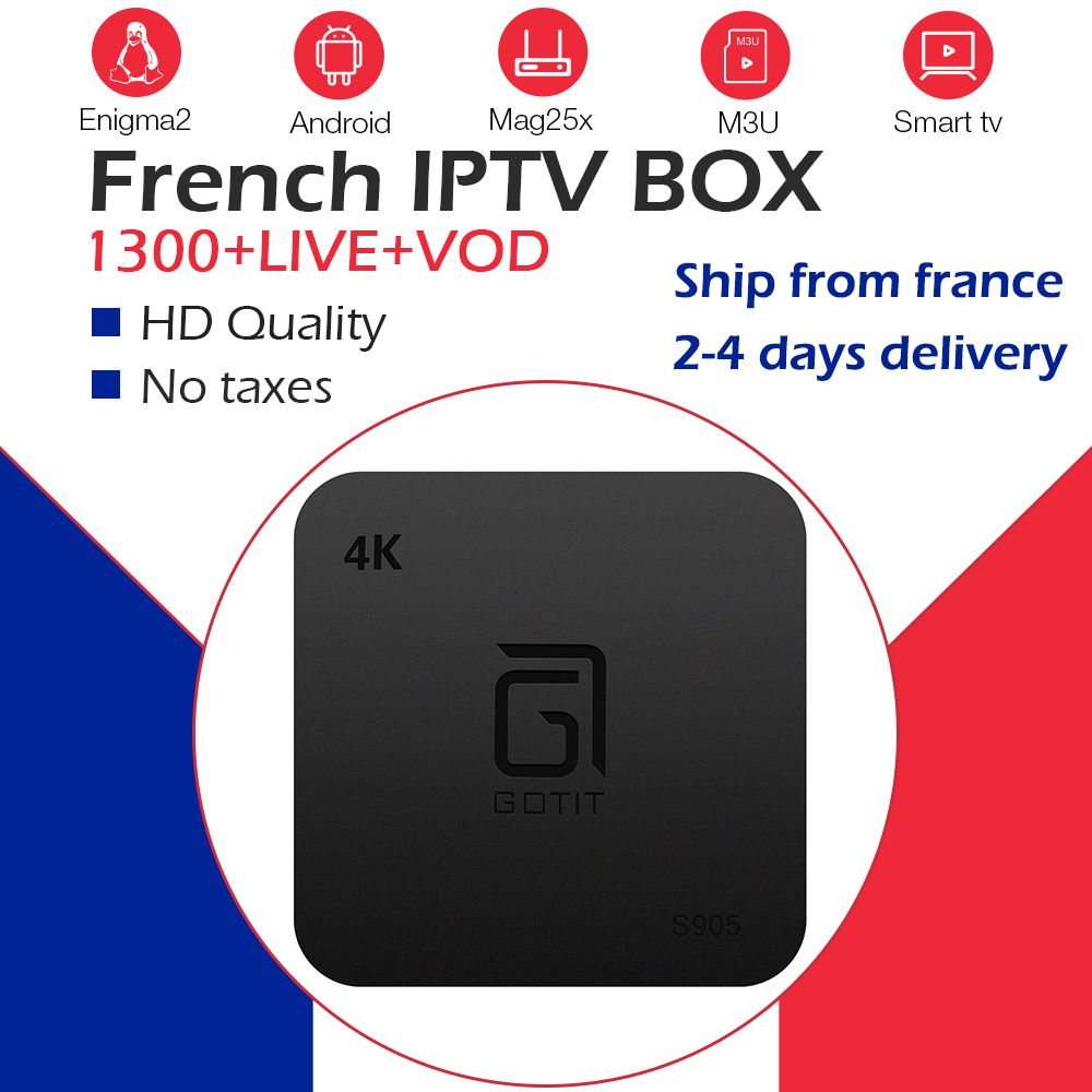 GOTiT S905 France Arabic NeoPro IPTV Subscription 1300Live 2000VOD IPTV m3u S905W Player WiFi Android Smart