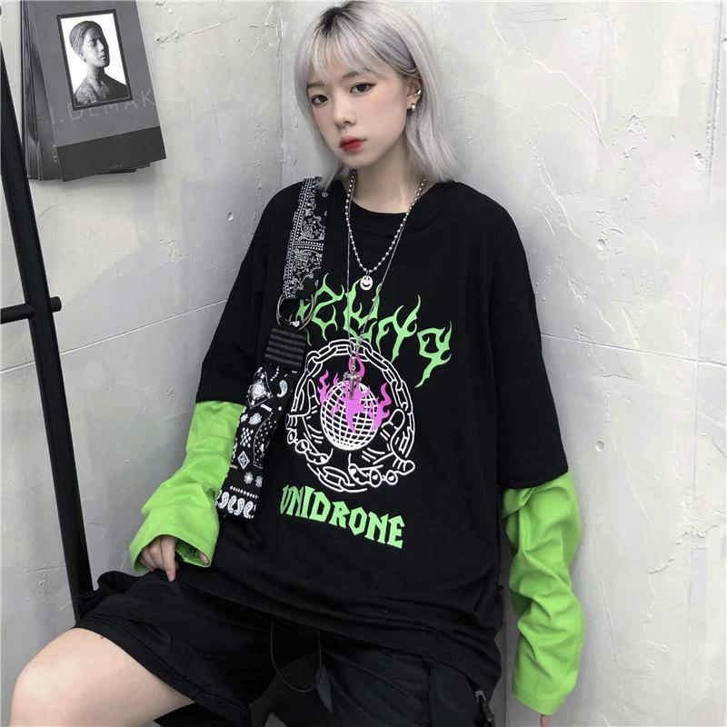 Fashion Harajuku Fire T-shirt Funny Men Women Autumn Korean Punk Long Sleeve Tops Loose Cool Hip Hop Tshirt Streetwear Females