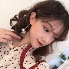 Korean Pearl Long Tassel Bar Drop Earrings for Women OL Style Sweet Dangle Brincos Party Jewelry Gift Wholesale