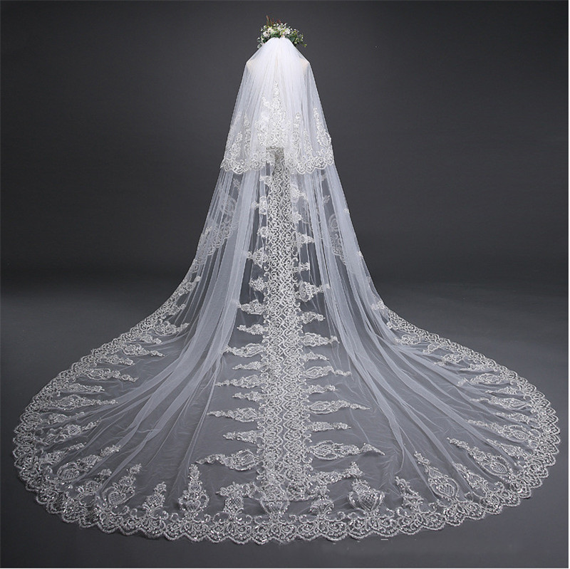 White Cathedral Wedding Veil Two Layers Double Edge Lace Beaded Applique Long Bridal Veil Headpiece With Comb