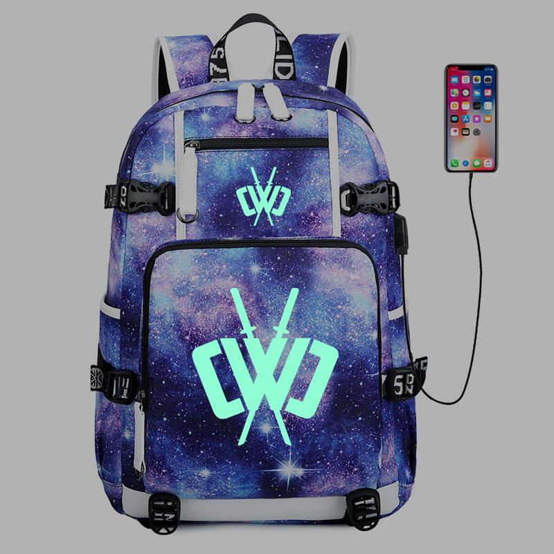 CHAD WILD CLAY Backpack CWC Noctilucous School Backpacks Boys Girls Student Bags USB Multifunction Travel Laptop Pack