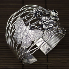 925 Sterling Silver Thailand Imported Originally Designed Handmade Silver Retro-opening Butterfly Flower Broad-plate Bracelet цена и фото