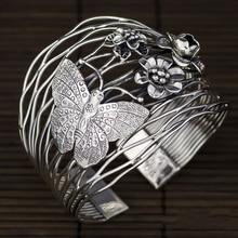 цены 925 Sterling Silver Thailand Imported Originally Designed Handmade Silver Retro-opening Butterfly Flower Broad-plate Bracelet