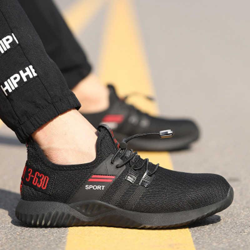 Yüksek Kaliteli Güvenlik Ayakkabıları Çelik Ayak Emniyet Erkekler iş ayakkabısı Unisex Nefes Hava Mesh iş ayakkabısı Artı Boyutu 36-46 kauçuk