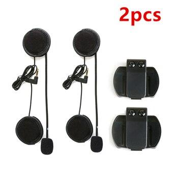 Micrófono y auriculares suaves deportivos 2 uds., funciona para casco de motocicleta V6 V4 auriculares intercomunicadores estéreo Bluetooth para motocicleta