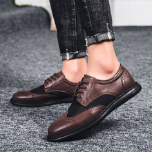 Natural Leather Men Dress Shoes Oxfords Business Office Casual Shoes Men Black Brown Lace-Up Flats Quality Wedding Shoes цена 2017