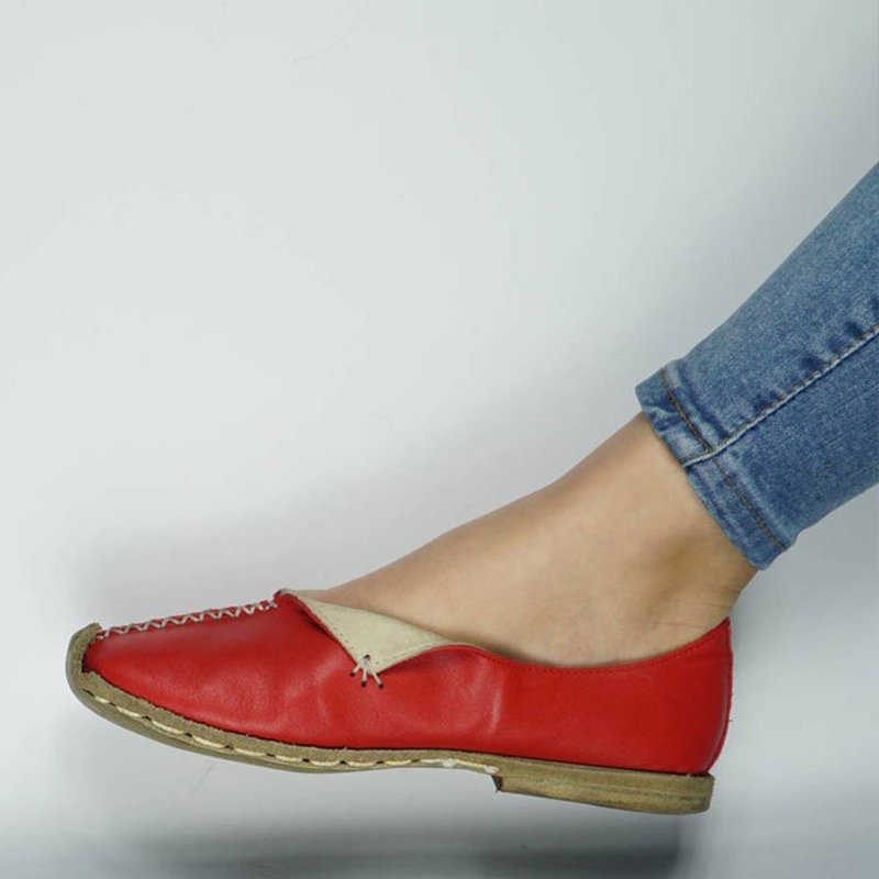 Wanita Kulit Flat 2020 Wanita Lembut Pantofel wanita Jahit Slip On Wanita Dangkal Kenyamanan Sepatu Wanita Sepatu Lampu Plus ukuran