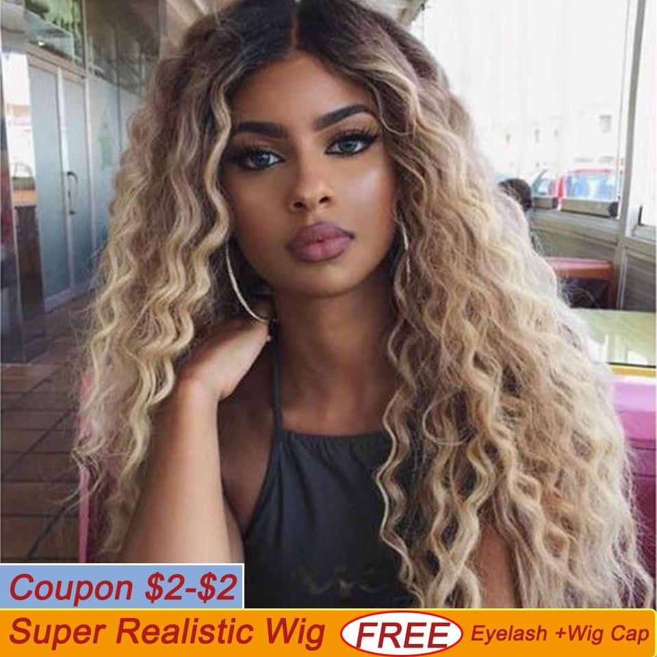 Perruques avant en dentelle Deep Wave Mid Part Ombre Blonde Tan bLack 6 couleurs disponibles 30 pouces Perruques avant en dentelle synthétique pour femmes Bella 100% Live Real Shot perruque synthétique