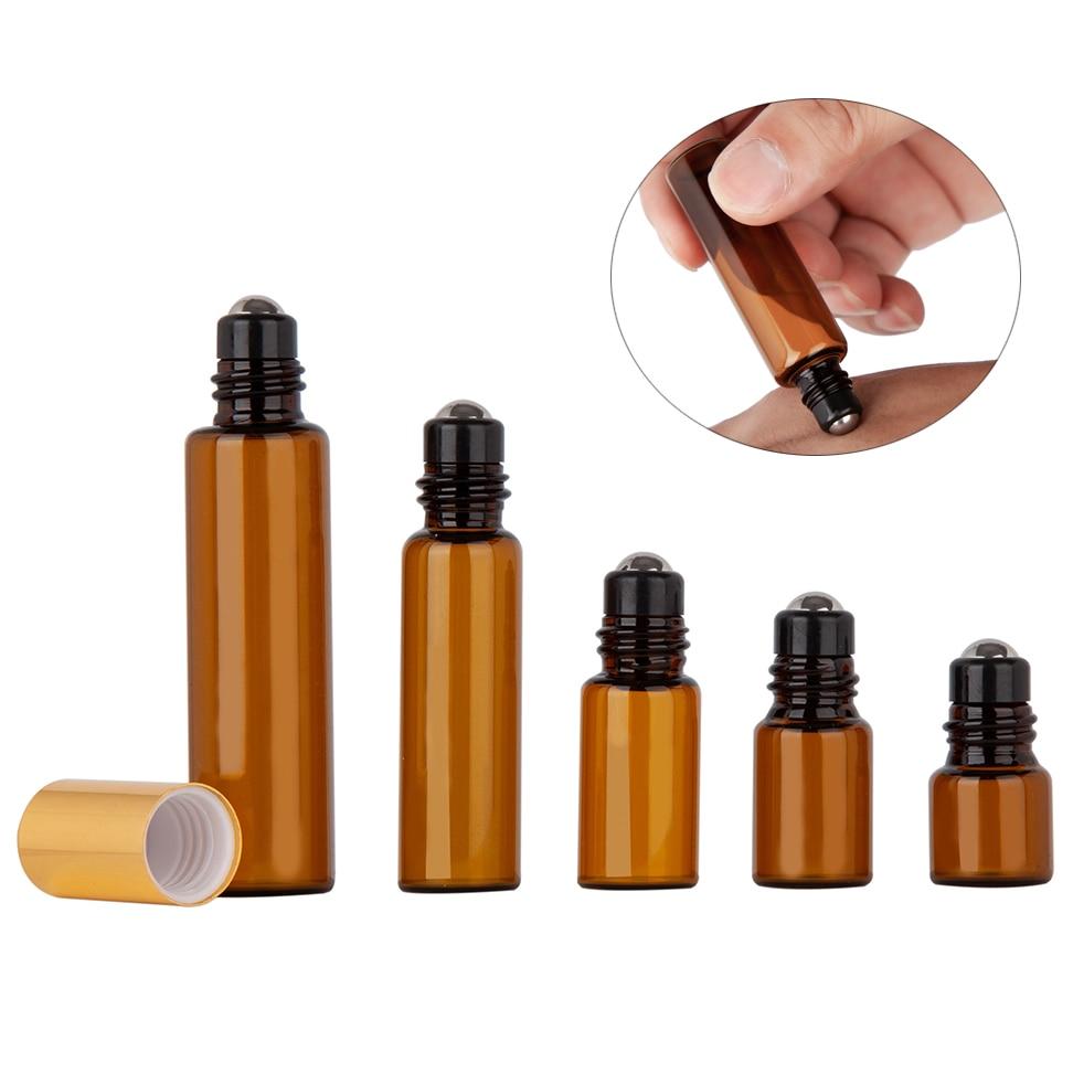 5pcs 1ML 2ML 3ML 5ML 10ML Amber Roll Glass On Roller Bottle With Stainless Steel For Essential Oils Refillable Perfume Bottle