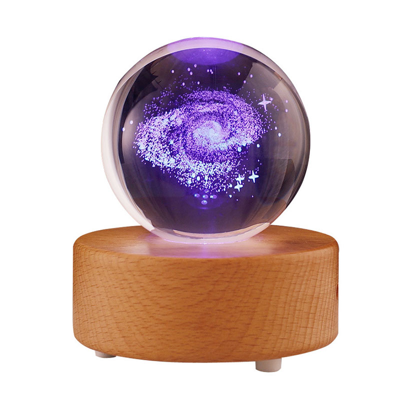 Music Box Moon Crystal Ball Wooden Luminous Music Box Remote Control Rotary Mechanism Innovative For Birthday Gift