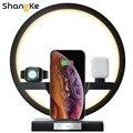 4 в 1 Беспроводное зарядное устройство прикроватная лампа 30 Вт адаптер Беспроводное зарядное устройство подставка для iPhone 12 Pro 11 X Apple Airpods час...