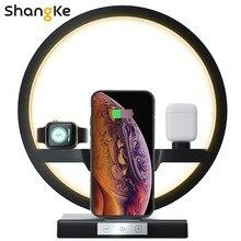 Lampe de chevet chargeur sans fil 4 en 1, adaptateur 30 W, support de charge sans fil pour iPhone 12 Pro 11 X, Apple Airpods Watch, charge rapide