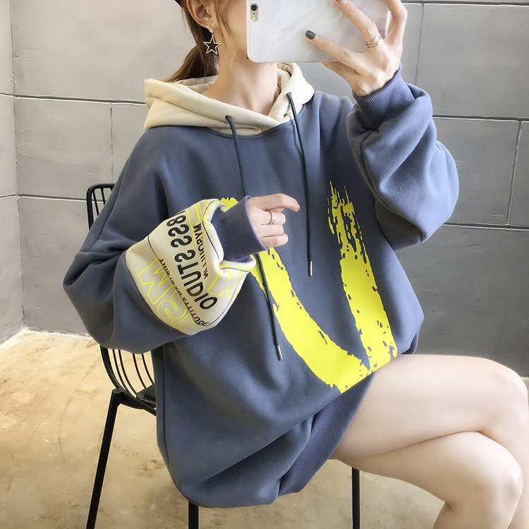 Will ~ winter han edition dress style add hair thickening letters bigger sizes fleece languid is lazy wind blouse polar fleece