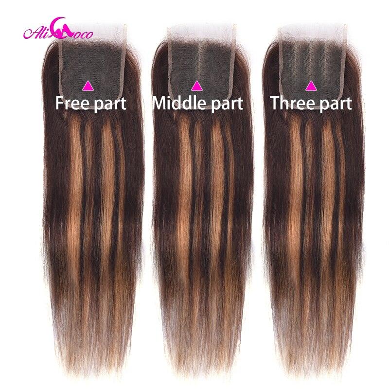 Hightlights Straight Lace Closure Transparent Lace 4x4 Hightlight Straight Closure 20 22 Inch Human Hair Closure Remy Closure