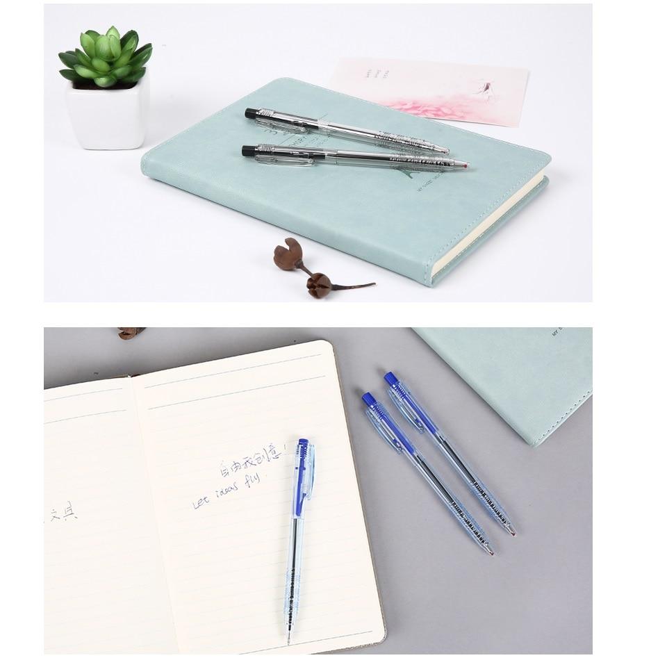 Купить с кэшбэком 6pcs Click type Nice office ballpoint pen Transparent body Black Blue Red color ink pens for writing signature School A6510