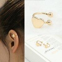 Mode oreille manchette Clip boucles d'oreilles sans Piercing or argent couleur étoile coeur Triangle lune petit Earcuff pour femmes bijoux