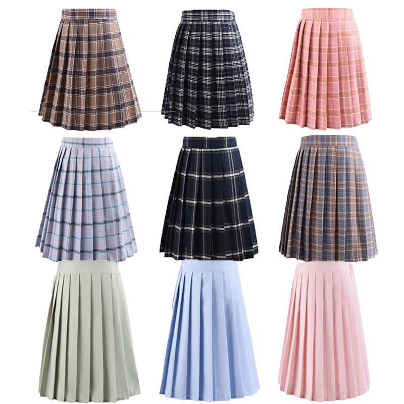 Japanese School Dresses Large-Size S-5XL Women Cosplay Anime Plaid Pleated Skirt For Girls High School Uniforms Students Skirt