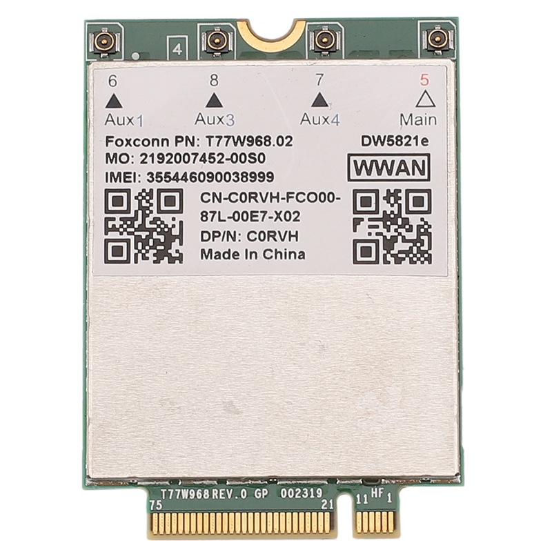 T77W968 DW5821E Snapdragon X20 LTE Cat16 1Gbps FDD-LTE TDD-LTE 4G Card For Dell 5420 5424 7424 Laptop