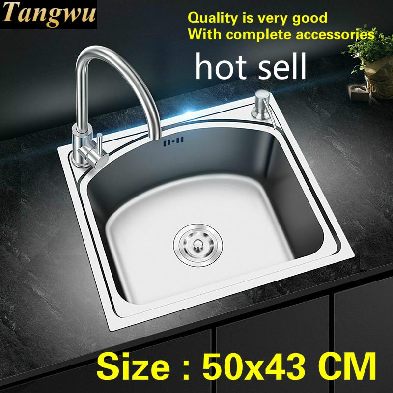 Free Shipping Standard Mini Balcony Luxury Kitchen Single Trough Sink 304 Food-grade Stainless Steel Hot Sell 500x430 MM