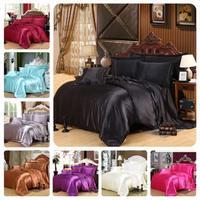 4Pcs Double Spelling Tencel Bedding Set 220*240cm/200*230cm/150*200cm Quilt Cover 48*78cm*2 Pillow Case Comforter Bedding Sets