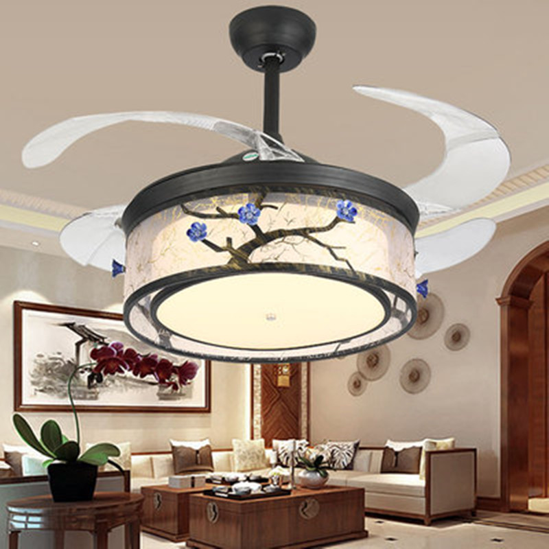 Ikvv European-style Invisible Fan Lamp Ceiling Fan Lamp Restaurant Modern Minimalist Chinese Style Living Room With Electric Fan