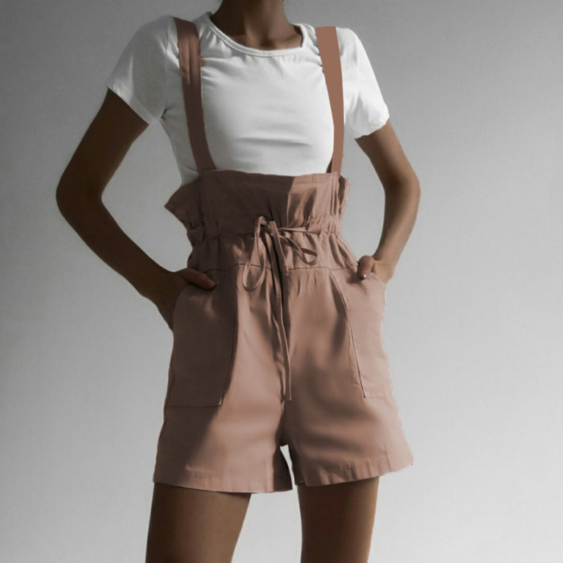 Summer Versatile Sexy Women Shorts Casual Solid Color High Waist Strap Ruffled Pocket Straight Strap Lace Up Overalls Shorts