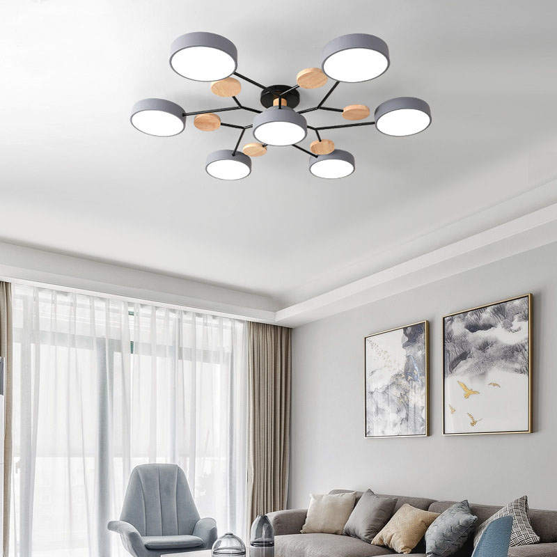 Factory Direct Modern Minimalist Macaron LED Ceiling Light Dining Room Bedroom Remote Control Dimmable Light
