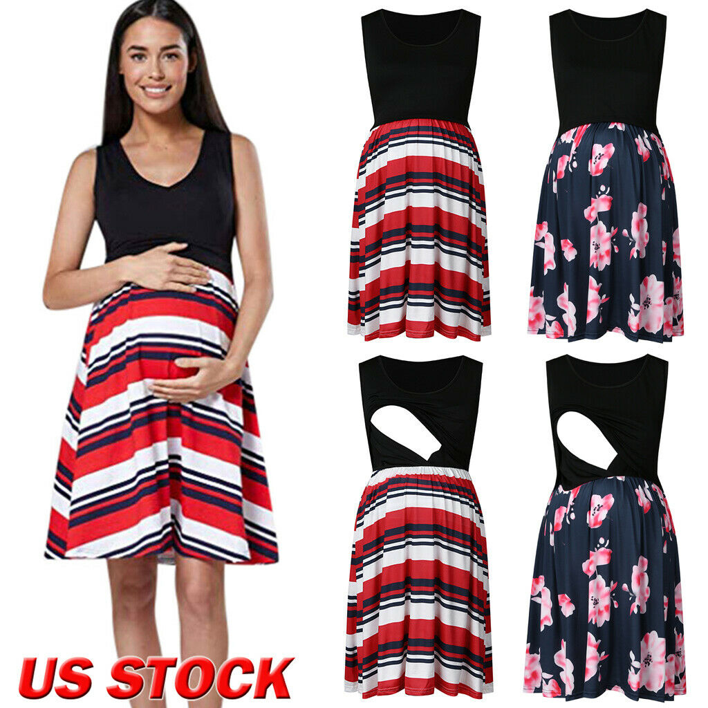 Hot Maternity Dresses For Photo Shoot Women Mother Floral Sleeveless Pregnancy Breastfeeding Nursing Clothes For Pregnant Women