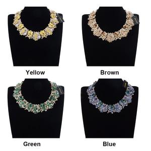 Image 2 - JEROLLIN 4 Colors Glass Rhinestone Flower Necklaces Women Fashion Crystal Jewelry Charm Choker Statement Bib Collar Necklace