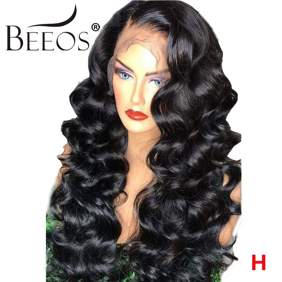 Beeos 13*6 Lace Front Human Hair Wig 250 Density Preplucked Natural Hairline Bleached Knots 13x6 Deep Part Wig Remy Deep Part