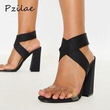 Pzilae/женские босоножки на не сужающемся книзу высоком массивном каблуке из эластичной ткани босоножки на высоком каблуке с открытым носком летние вечерние туфли босоножки без застежки с перекрестными ремешками