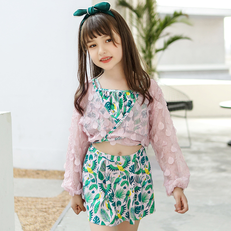 KID'S Swimwear Girls Big Boy Baby Skirt-Split Type Hot Springs Tour Bathing Suit GIRL'S Students Cute Sun-resistant Swimwear