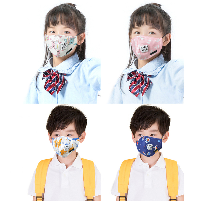 Kids Children Cotton Anti-Dust Face Mouth Mask Cartoon PM2.5 Protective Respirator Reusable Anti Flu Masks With 1pcs Filter 1