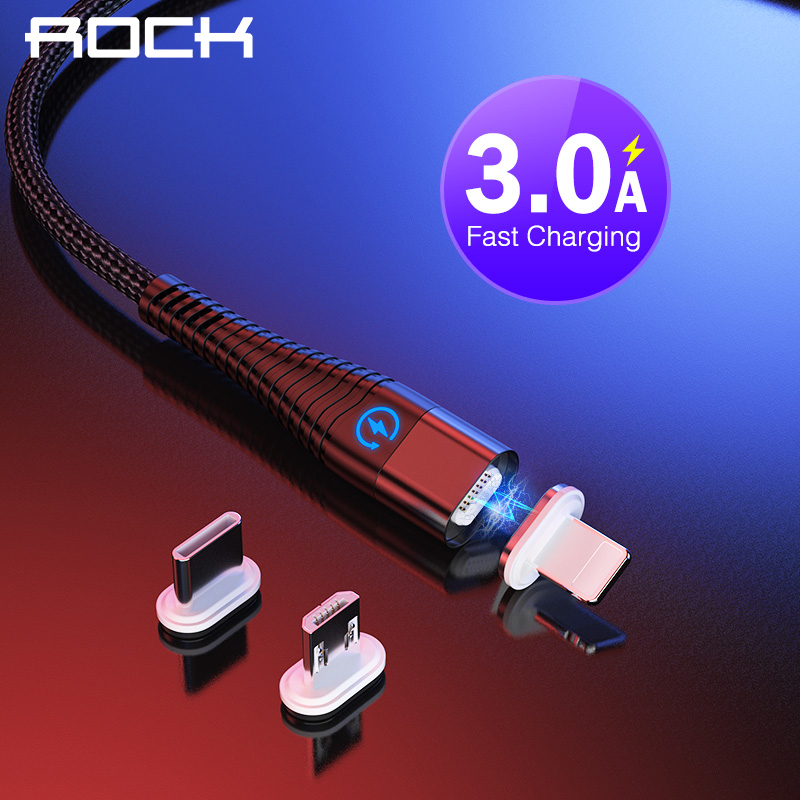ROCK LED Light Magnetic Charge Cable Micro USB Cable For IPhone XR XS Max X Magnet Charger USB Type C Charging Wire Cord 1M 2M