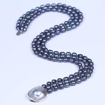Women Natural 3 Rows 9-10Black Freshwater Rice Pearl Clasp Necklace Strands