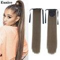 Длинные прямые накладные волосы на клипсе, хвостик с заколками для волос, синтетические накладные волосы для хвоста, Eunice