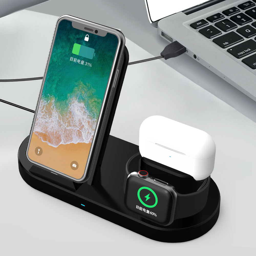 15W Fast Wireless Charger Bracket For iPhone 12 11 XS Max x 8 Plus Chargers Airports Pro Apple Watch 6 5 4 3 Stand Charging 3IN1